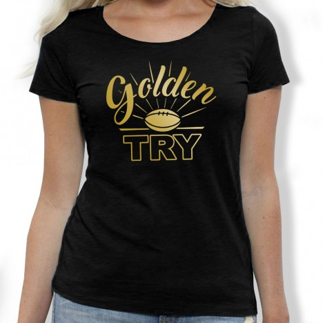 Tshirt Rugby GOLDEN TRY femme