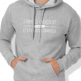 Sweat Capuche Rugby J'AIME LE CHOCOLAT homme