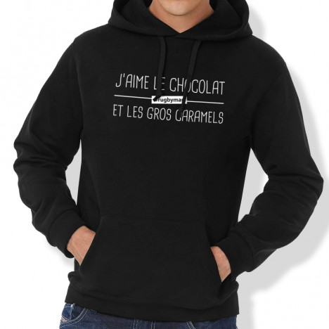 Sweat Capuche Rugby J'aime le chocolat