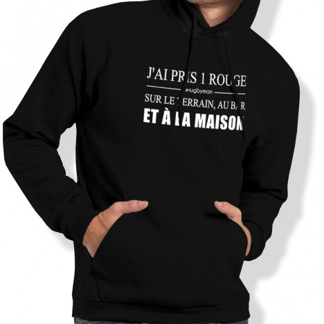 Sweat Capuche Rugby Carton rouge