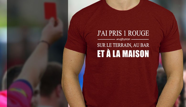 Tshirt rugby carton rouge