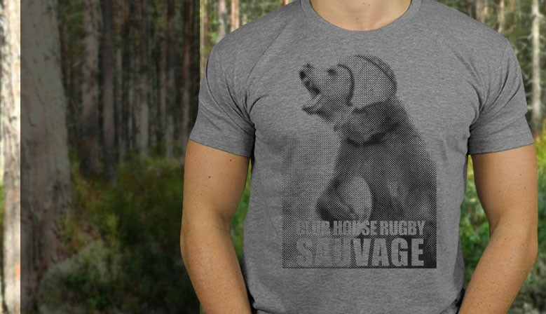 TSHIRT RUGBY SAUVAGE OURS
