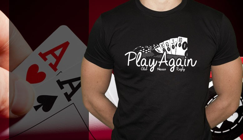 Tshirt rugby play again poker
